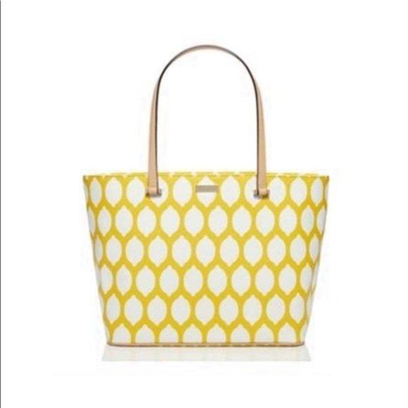 Kate Spade Via Lemoni Lemon Print Tote Yellow